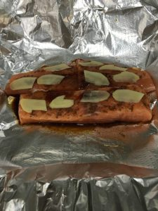 Buzymum - Salmon with chinese 5 spice, soy sauce and topped with ginger