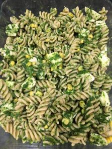 Buzymum - Combined ingredients for chicken and spinach pasta bake