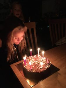 Buzymum - Blowing out her candles on her 8th birthday