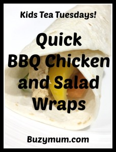 Buzymum - Quick bbq chicken and salad wraps