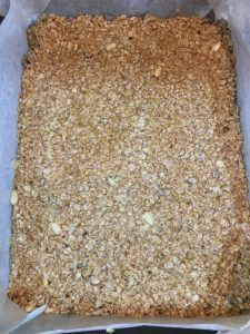 Buzymum - Flapjack mix, flattened and ready for the oven