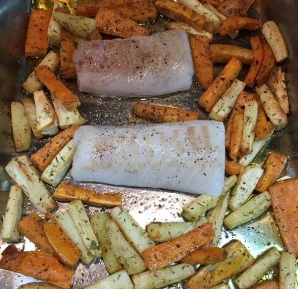 Buzymum - Cod added to roasting tray with veg chips