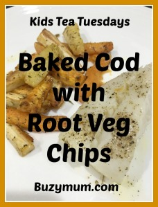 Buzymum - Baked Cod with Root Veg Chips