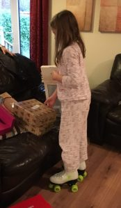 Buzymum - Lou wearing her roller-skates on Christmas morning