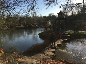 Buzymum - Using the stepping stones to cross the water garden at Cliveden