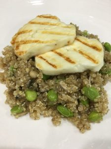 Buzymum - the finished dish topped with grilled halloumi
