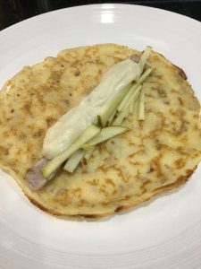 Buzymum - pork, apple, pancake, cheese sauce