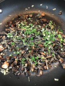 Buzymum - Thyme added to the mushroom mix