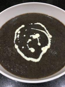Buzymum - Mushroom soup ready to serve with a swirl of cream