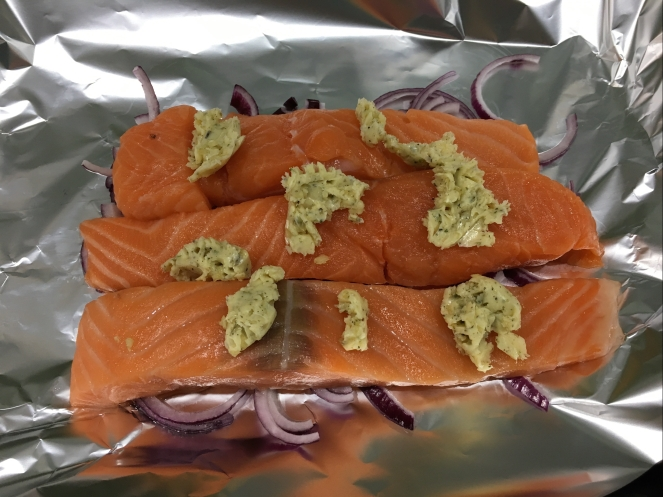 Buzymum - Salmon topped with garlic and herb butter, ready to be wrapped