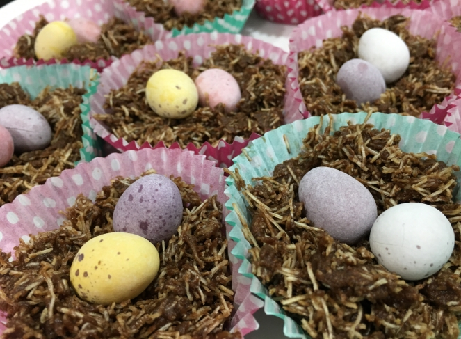 Buzymum - Chocolate and Black treacle Easter nests with mini eggs