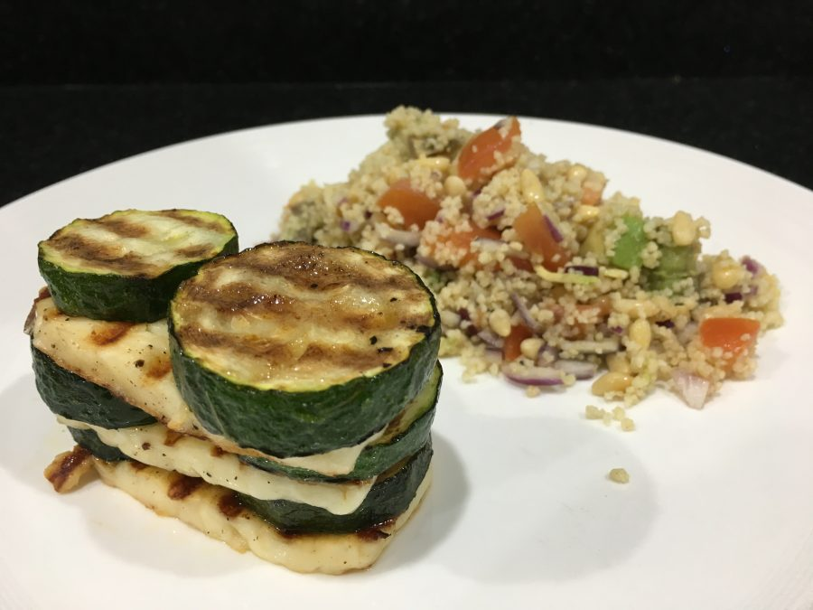 Buzymum - Halloumi & Courgette Tower with Tomato & Avocado Couscous ready to serve
