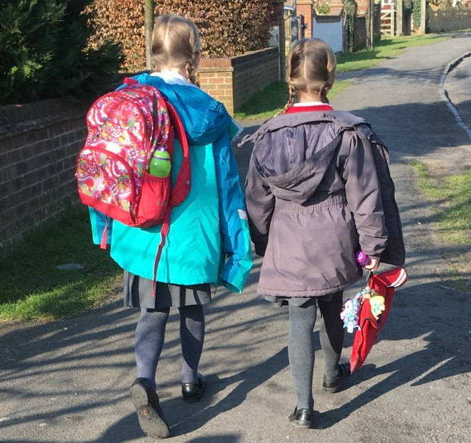 Buzymum - K and Lou walking to school