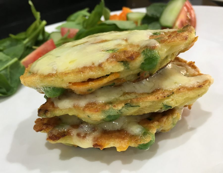 Buzymum - Cheesy Carrot, Courgette & Pea Fritter Stacks Served with Salad